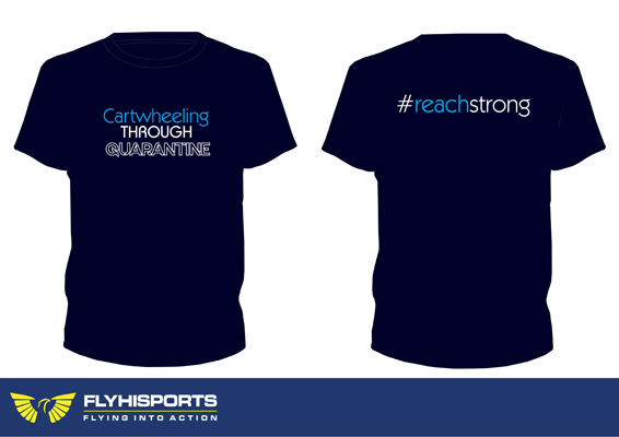 cartwheeling through gymnastics t-shirt at Reach Gymnastics